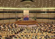 De vergaderzaal van het Europese Parlement