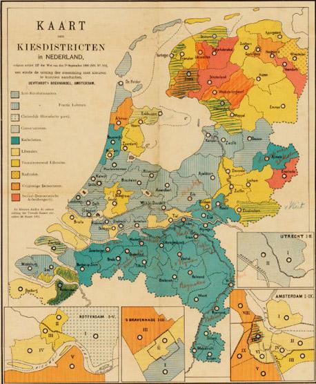 Kaart van de kiesdistricten in Nederland