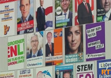 Verkiezingsaffiches met partijleiders