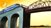 Euro-expres staat stil op spoorbrug
