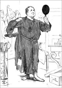 Abraham Kuyper in boetekleed houdt zichzelf een spiegel voor terwijl hij zichzelf met een roede in andere hand kastijdt