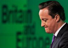 Peinzende Cameron met op groene achtergrond de tekst Britain end Europe