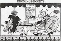 Vice-premier Wiegel als ME'er met een Konigsleeuw als marechaussee aan de lijn