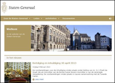 Homepage Staten-Generaal
