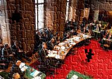 Puzzel van het kabinet-Rutte I in de Eerste Kamer, foto Hans Kouwenhoven