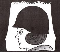 Koningin Beatrix met helm