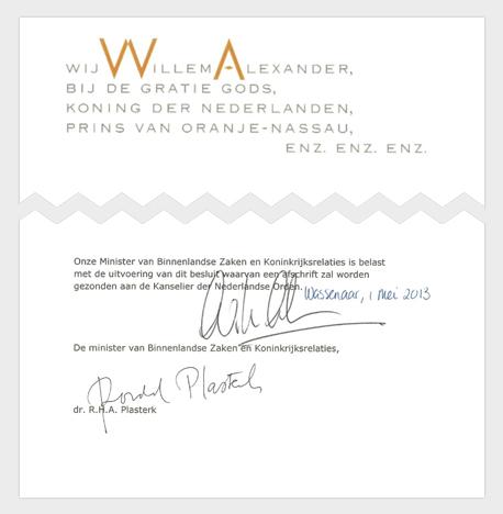 Handtekening van koning Willem-Alexander met contraseign