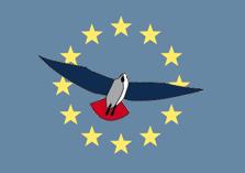 PVV-vogel met Europa op achtergrond