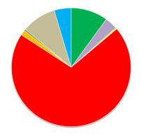 taartpuntengrafiek met een heel groot rode taartpunt