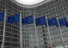 Berlaymont gebouw met Europese vlaggen