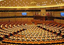 Lege vergaderzaal van het Europees parlement