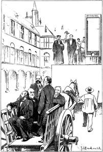 Een groepje liberale senatoren wordt afgevoerd naar de guillotine