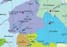 Kaart met provincies Friesland, Groningen, Drenthe, een stukje Overijssel en de Noord-Oostpolder