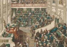 Vergadering in wat later de Tweede Kamerzaal zou worden
