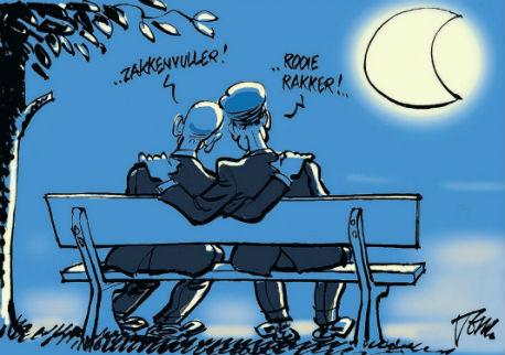 Samsom en Rutte op een bankje in de maneschijn