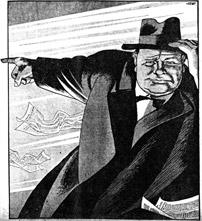 Winston Churchill met wijzende vinger