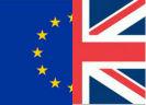 Halve Europese en halve Britse vlag