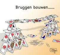 Kaartenhuis van VVD- en PvdA-speelkaarten