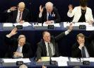 Europarlementariërs die hun hand opsteken