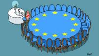 Europese conferentietafel met aparte tafel voor het Verenigd Koninkrijk