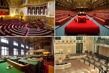 Vier foto's van - met de klok mee links boven beginnend, de Franse senaat, het Britse hogerhuis, de Duitse bondsraad en de Nederlandse Eerste Kamer