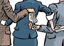 Onderdeel van tekening waar mannen en vrouwen elkaar achter elkaars rug geld toestoppen