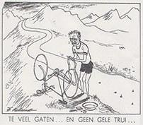 Minister/president Drees - iverlegin wielrenners tenue - plakt in Frans berglandschap een lekke band van zijn racefiets