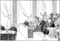 Een vergaderzaal met vrouwen als volksvertegenwoordigers anno 1908