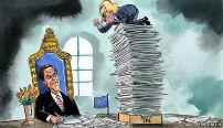 Wilders op stapel in-post op bureau Rutte maakt een lange neus naar Rutte die achter het bureau zit