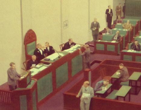 detail van de voorzitter Tweede Kamer op een schoolplaat van de Tweede Kamer