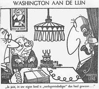 De ministers Luns (buitenlandse zaken), De Jong (premier) en Polak (justitie) rond een tafel aan het telefoneren