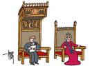 Cartoon van Willem-Alexander en Maxima op troon