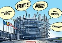 Parlemenentsgebouw Straatsburg met exit-kreten
