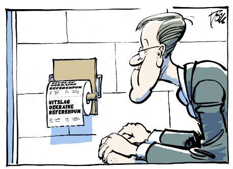 spotprent: Rutte op wc met wc-papier uitslag Oekraïne-referendum