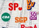 Partijlogo's met op achtergrond stembiljet