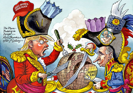 Trump en Poetin verdelen wereldbol als plumpudding