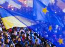 Oekraïense vlag en Europese vlag